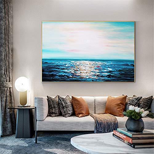wZUN Pintura al óleo Abstracta del Paisaje Marino Azul sobre Lienzo Dormitorio Sala de Estar decoración del hogar Cuadro de Arte de Pared 60x90 Sin Marco