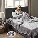 Woolrich Heated Plush to Berber Electric Blanket Throw Ultra Soft Knitted, Super Warm and Snuggly Cozy with Auto Shut Off and Multi Heat Level Setting Controllers, King: 100x90, Grey