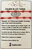 SabelAX Pulsera 7 Nudos Roja - Hilo Rojo - Protección Mal de Ojo y Buena Suerte - Unisex, para Mujer y Hombre - Kabbalah - para Parejas