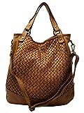 Dream Leather Bags DLB - Borsa a Mano con Tracolla in Vera Pelle Intrecciata Colore Cognac - Pelletteria Artigianale Toscana