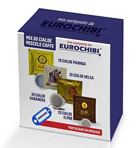 MIX 80 CIALDE CAFFÈ PASSALACQUA - 20 MANHOA - 20 HELCA - 20 HABANERA - 20 ELMIR con 1 ESCLUSIVO PORTACHIAVI EUROCHIBI®
