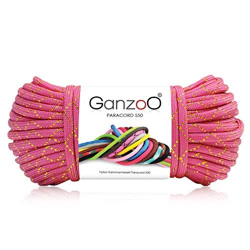 Ganzoo Paracorde 550 Corde Glitter pour Bracelet Laisse Collier Nylon Corde 30 Mètres Couleur Magenta Fluo