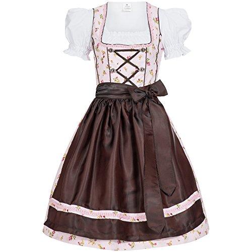 Mufimex Damen Dirndl Kleid Dirndlkleid Trachtenkleid Midi Blümchenstoff Jessy 36