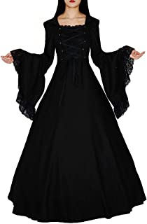 Women's Gothic Victorian Witch Vampire Dress Medieval Renaissance Halloween Cosplay Hooded Costume
