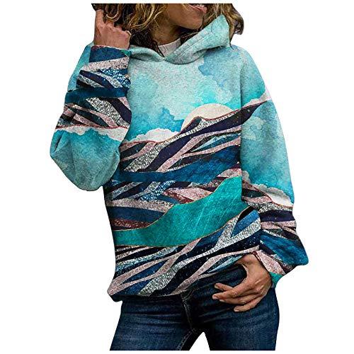 YSLMNOR Plus Size Sweatshirts Womens Landscape Printing Pullover Tops Long Sleeve Hoodies Blue