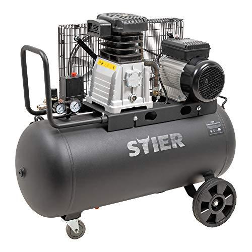 STIER Kompressor LKT 880-10-90, 3000 W, max. Druck 10 bar, 90 Liter Tank, 81 kg, geeignet für Anwendungen mit hohem Luftbedarf, Reifenwechsel, Bauarbeiten
