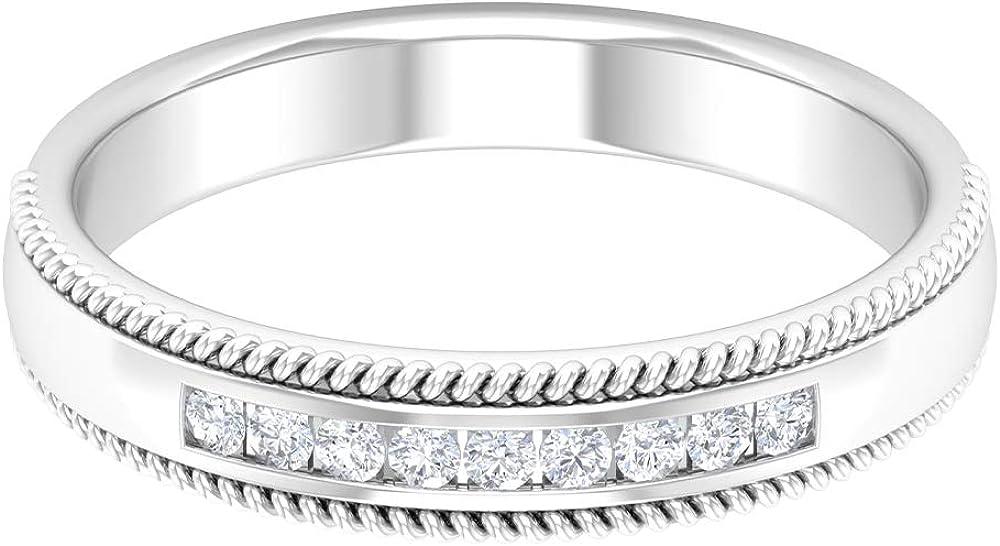 Vintage Wedding Band, Milgrain Statement Ring, HI-SI Round Shaped Diamond Ring, Antique Anniversary Ring, Diamond Bar Ring, Promise Ring for Women, 14K Gold