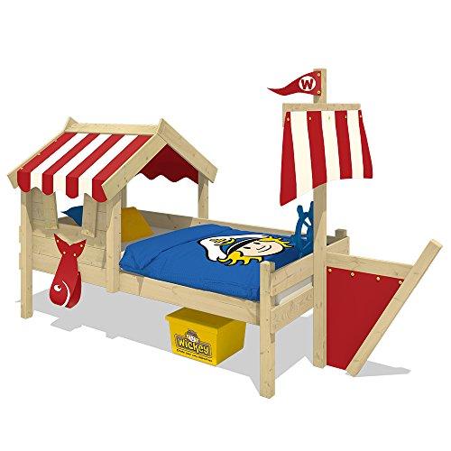 WICKEY Kinderbett mit Dach CrAzY Finny Spielbett mit Schiffanbau und Segel Abenteuerbett mit Lattenboden, rot, 90x200 cm