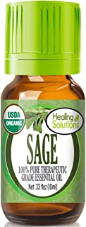 Organic Sage Essential Oil (100% Pure - USDA Certified Organic) Best Therapeutic Grade Essential Oil - 10ml