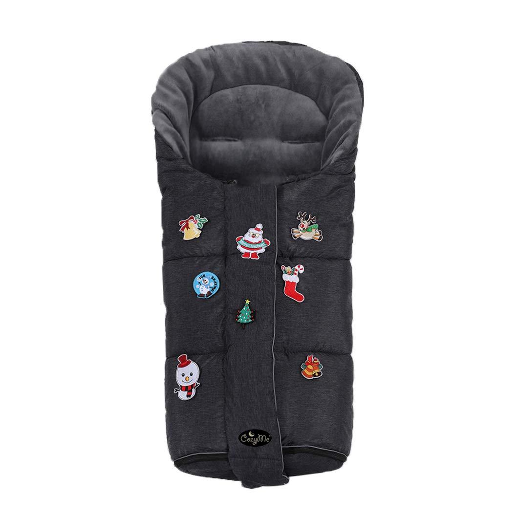 CozyMe 3 in1 Christmas Kids Play Fun Winter Outdoor Universal Stroller Sleeping Bag Toddler, Width/Temperature Adjustable Baby Stroller Bunting Bag, Ultra Soft Waterproof Melange Footmuff