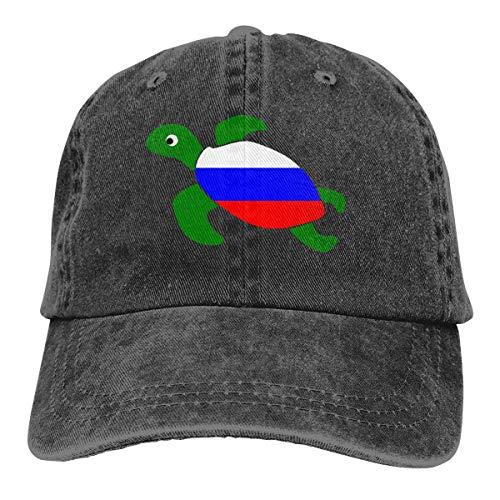 Desconocido Gorra de béisbol de Tela de Mezclilla Ajustable Unisex Gorra de Tortuga Rusa de Tortuga Marina de Rusia