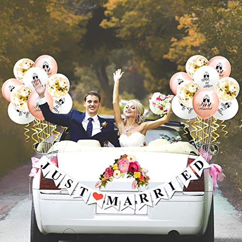 JUST MARRIED Car Decorations by KeaParty, Just Married Banner Sign and Balloons, Wedding Bridal Shower Bachelorette Party Decorations, Photo Props, Car Decorations
