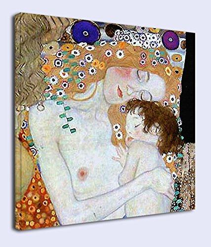 Cuadro Klimt Madre e Hijo- Gustav Klimt Mother and Child Marco Lienzo Lienzo de impresión (Cuadro con Marco DE Madera, CM 40X40)
