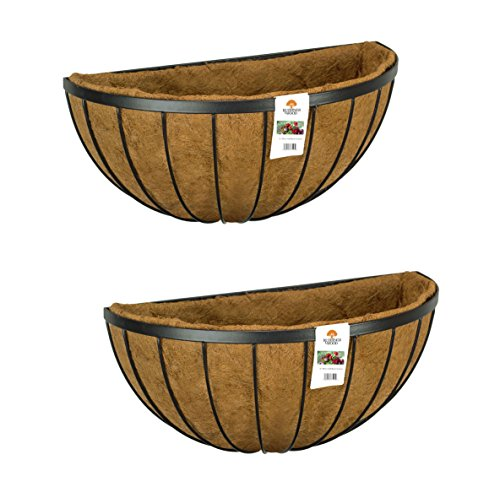 Photo of Ruddings Wood Set of 2 x 20″ (50cm) Garden Wall Baskets – Metal Flower Trough Containers Manger – Outdoor Planter Box – Hanging Under Window Boxes