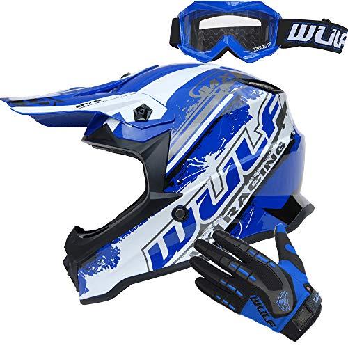 Wulfsport Flite Children Kids Motocross HELMET + WULF GOGGLES & GLOVES Kids Dirt Bike ATV Helmet - Blue XL