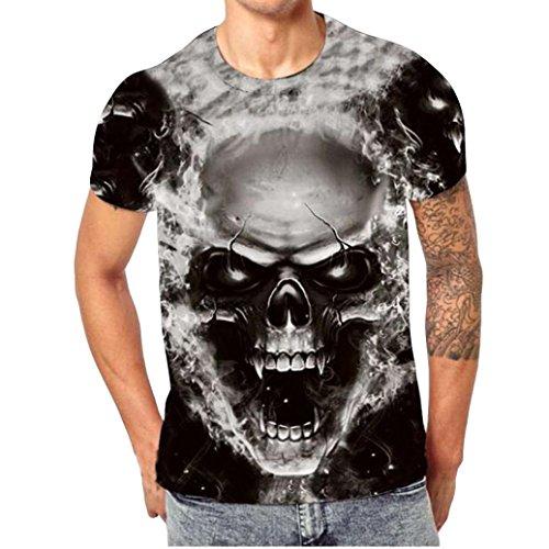 ZARLLE Camiseta Hombre, Casual Skull Impresion 3D Tees De Tallas Grandes Camiseta para Hombre tee Cuello Redondo Tops Camisetas Ropa Hombre Deportiva 2018 Ofertas (XXXXXL, Negro)