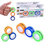 Aotesbu 6PCS Magnetic Ring Stress Relief Toy, Colorful Unzip Finger Game Toy, Magical Ring Props Tools with Bearing Focus, Finger Spinner Fidget Toy to Relieve ADHD Anxiety for Adults and Children