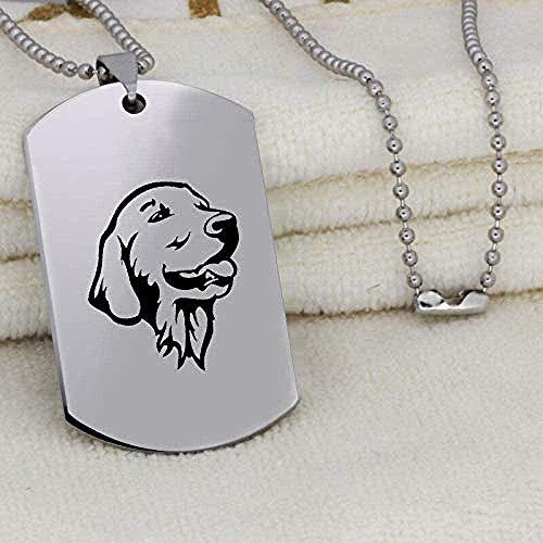 Yiffshunl Collar de Moda con Colgante de Imagen de Perro Encantador, Collar de Acero Inoxidable Grabado único a la Moda para Mujeres y Hombres, Collar de Regalo