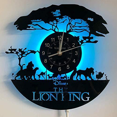 """Le Roi Lion Disque Vinyle Horloge Murale décoration The Lion King Vinyl Wall Clock Murale Art - Cadeau Unique - Salon, Cuisine, décoration Murale Vintage à la Main, 12"""", Noir (with LED)"""