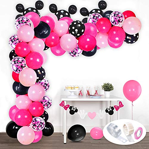 VSTON Balloon Garland Arch Kit Pink Black Rose red Black Bot Confetti party balloons arch for girls Baby Shower Wedding Birthday Decorations Supplies Dot Glue Ribbons Chain
