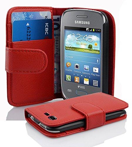 Cadorabo Funda Libro para Samsung Galaxy Pocket Neo en Rojo Infierno - Cubierta Proteccíon de Cuero Sintético Estructurado con Tarjetero y Función de Suporte - Etui Case Cover Carcasa