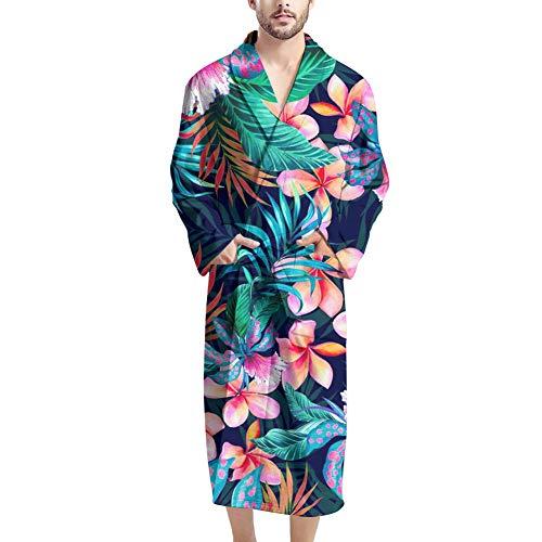UOIMAG Herren-Bademäntel mit Tasche, gemütlicher Nachtwäsche, Bademantel Geschenk für Männer Gr. Einheitsgröße, Hawaii-Blume