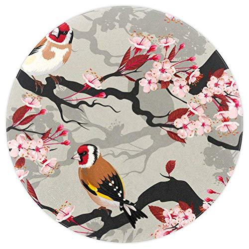 DJROWW Alfombra redonda con diseño de rama de cerezo y pájaros de primavera, antideslizante, para sala de estar, dormitorio, estudio, sala de juegos, arte para decoración del hogar, 5.2 pies