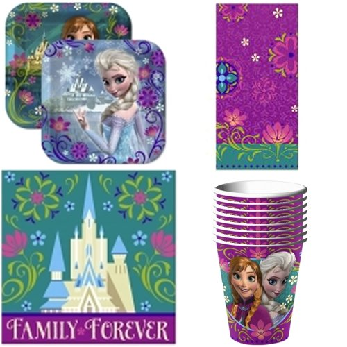 Disney Frozen Party Supplies Pack Including Plates, Cups, Napkins and Tablecover for 16 Guests