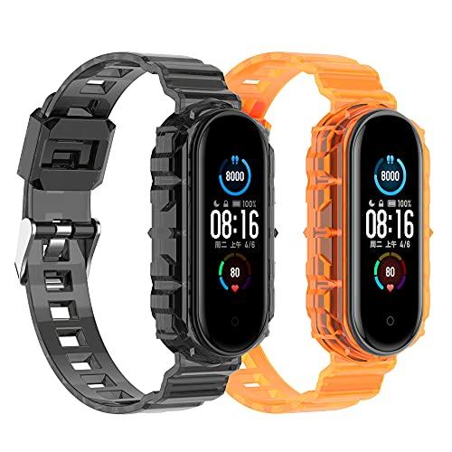(2 unidades) Chofit Correas compatibles con Xiaomi Mi Band 6 Correa, TPU Plástico Transparente Cristal Reemplazo Pulsera Pulsera de Cristal para Mi Band 6/Mi Band 5 Fitness Tracker (Negro+Naranja)