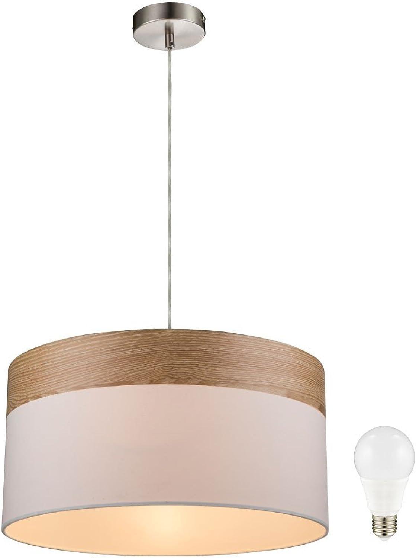 Hnge Lampe Decken Pendel Beleuchtung Holz Leuchte Textil beige im Set inklusive LED Leuchtmittel
