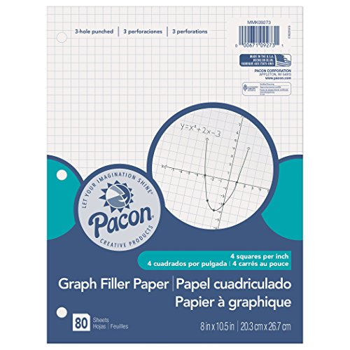 Pacon Filler Paper, White, 3-Hole Punched, 1/4' Grid Ruled 8' x 10-1/2', 80 Sheets