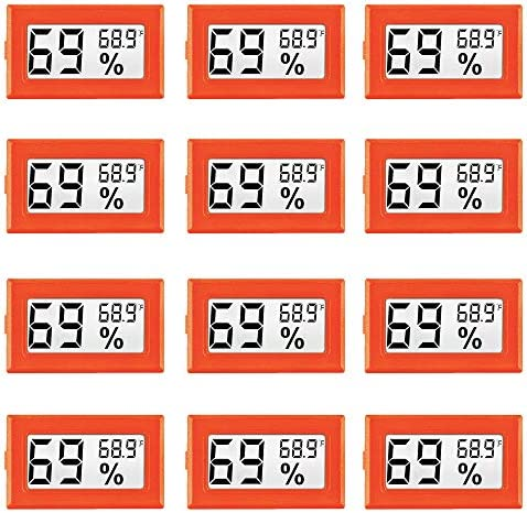 12 Pack Orange Mini Digital Electronic Temperature Humidity Meters Gauge Indoor Thermometer product image