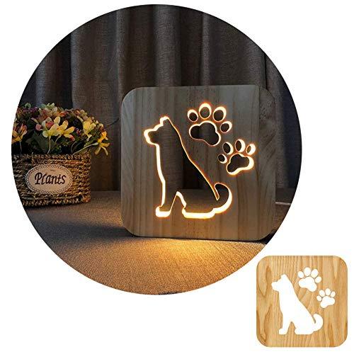 Wooden Carved Night Light,MQUPIN Dog Desk Lamp, LED Table Light USB Power Cartoon Nightlight Desk Lamp, Home|Bedroom Decor Lamp or Birthday Gifts (Dog)