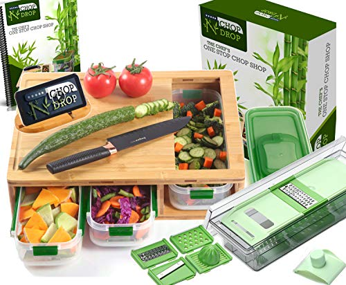 Bamboo Cutting Board With Containers And LOCKING LID. Includes Built-in...