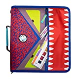 Case-it DUAL-101-ME Dual Monster Eye Zipper Binder, 2 Sets of Rings, Included Pencil Pouch, Red, Model Number: DUAL-101-ME-RED