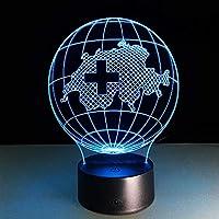 QHZSFF 3Dンナイトライト,USBまたはバッテリー電源,16色は、男の子と女の子のためのギフトのアイデアとしてリモートコントロール錯覚で装飾ランプを変更します(地球)