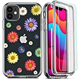 DecaStars for iPhone 11 Case, Clear Phone Case with [2 x Tempered Glass Screen Protector] Shockproof 360 Full Body Hard PC Soft Silicone TPU 3in1 Military Standard Protective Cover #11 Floral Daisy