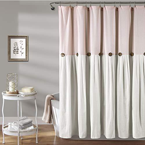"Lush Decor, Blush & White Linen Button Shower Curtain, 72"" x 72"""