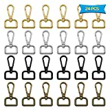 24pcs D Ring Swivel Clasps Lobster Clasp Claw Metal Swivel Snap Hook for Strap Push Gate DIY Crafts Keychain Lanyard Jewelry Making Purse Bag Making(4 Color, 2cm Inside Diameter)