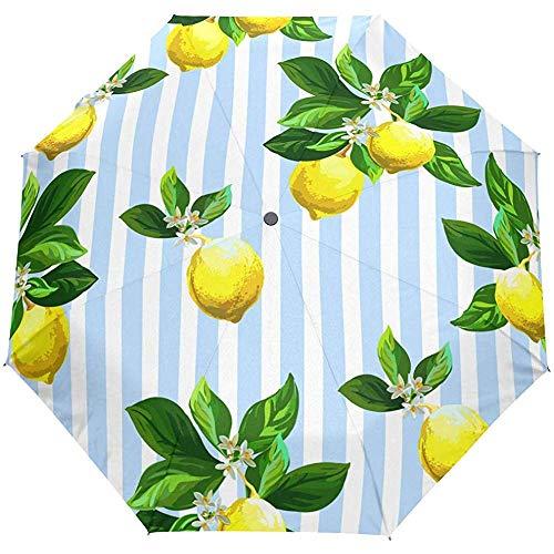 Weinlese-Zitronen-gestreifter Auto-offener Regenschirm-Sonnenregen-Regenschirm Anti-UV, der kompakten automatischen Regenschirm faltet