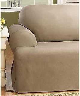 SureFit Duck Solid T-Cushion - Sofa Slipcover - Linen