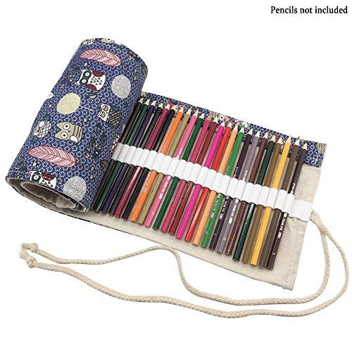 72 Holes Pencils Roll Up Case Canvas Pencil Wrap for Colored Pencils Pen Portable Storage Organizer Pouch