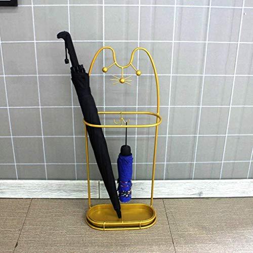 LY88 Schirmständer Eisenschirm Schirmständer für Bodenhaus mit Türschildern und Porta Porta-Tropfstock/Regenschirm 2 optionale Farben (Farbe, Schwarz), Gold