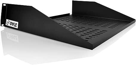 Pyle 19-Inch 2U Server Rack Shelf, Vented Shelves For Good Air Circulation, Cantilever Mount, Wall Mount Rack, Universal Device, Cabinet Shelf, Computer Case Mounting Tray, Black (PLRSTN22U)