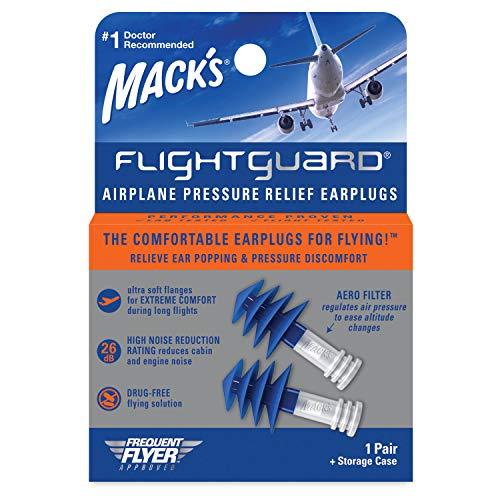 Mack's Flightguard Bouchons d'oreille anti-pression pour avion 26 dB NRR – Confortables, sûrs