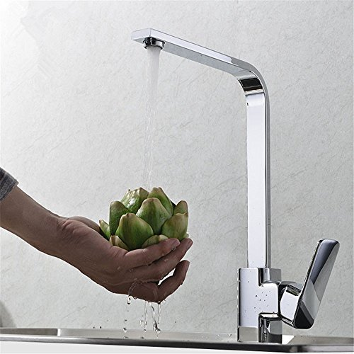 Water Tower - Grifo mezclador monomando de latón macizo sin plomo y válvula de cerámica para cascada, grifo de cobre para fregadero de cocina, grifo de fregadero de cocina con válvula de mezcla de frío y caliente