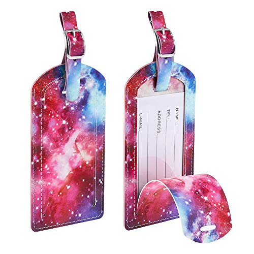 fanshiontide 2 Pcs Leather Name ID Labels Travel Luggage Tags Tags Handbag Tag Labels Synthetic Leather Name ID Labels, Galaxy