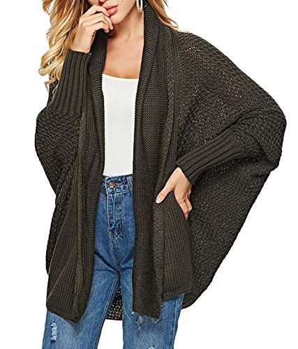 MILEEO Damen Strickjacke Lässig Casual Cardigan Langarm Pullover Outwear mit Taschen Mantel Jacke Winter,Die Kleidung gibt Zwei