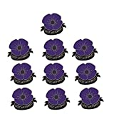 KOOBOOK 10Pcs Lest We Forget Poppy Brooch Pin Flower Broach Badge Veterans Day Memorial Day Remembrance Day Gifts Purple