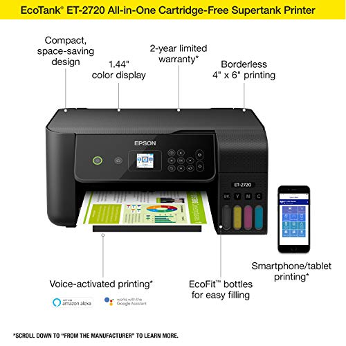 Epson EcoTank ET-2720 Wireless Color All-in-One Supertank Printer with Scanner and Copier - Black Photo #4